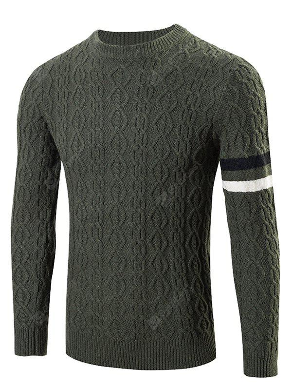 GREEN Round Neck Long Sleeves Geometric Jacquard Sweater