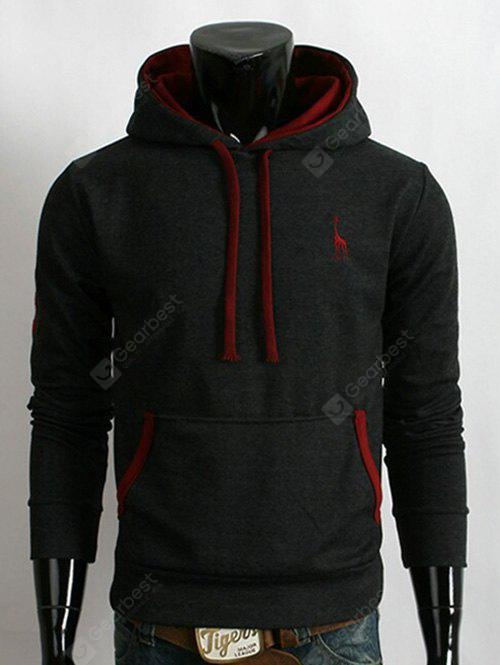 Pocket Fawn Embroidery Pullover Hoodie
