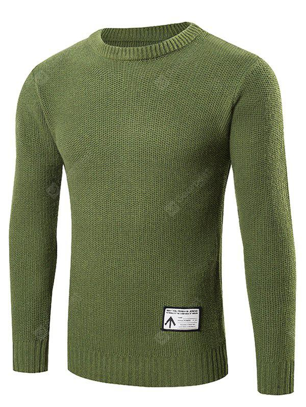GREEN 2XL Ribbed Trim Patched Crew Neck Knit Sweater