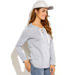 Criss-Cross Pullover Sweatshirt - LIGHT GRAY