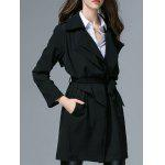Belted Trench Wrap Coat - BLACK