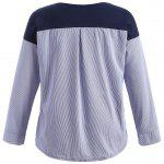 Plus Size Pinstriped Patchwork T-Shirt - DUNKELBLAU