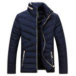 Buy BLUE Contrast Zipper Stand Collar Padded Jacket for $64.19 in GearBest store