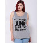 Plus Size Letter Print Tank Top - GRAY