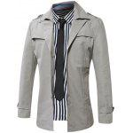 Turn-Down Collar Single-Breasted Epaulet Trench Coat - GRAY