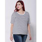 Striped Short Sleeves T-Shirt - WHITE AND BLACK