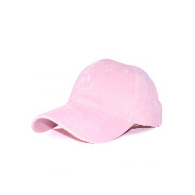 Outdoor Smiling Face Embroidery Corduroy Baseball Hat
