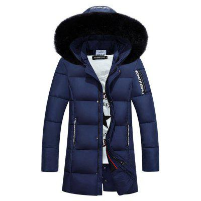 Furry Hood Graphic Selvedge Embellished Zip-Up Padded Coat