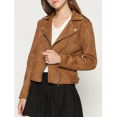 Zip Up Faux Suede Biker Jacket