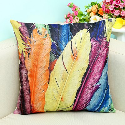 Artistic Colorful Feather Printed Sofa Decorative Pillow Case