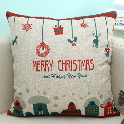 Sofa Decorative Merry Christmas Cartoon Printed Pillow Case
