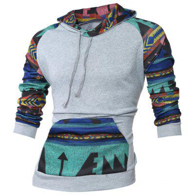 Buy LIGHT GRAY Raglan Sleeve Kangaroo Pocket Tribal Print Hoodie for $20.84 in GearBest store