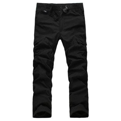 Zipper Fly Straight Leg Plastic Buckle Thicken Cargo Pants