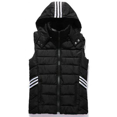 Cappuccio banda Impreziosito Zip-Up Down Gilet