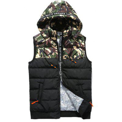 Camo Panels Puffer Hooded Vest