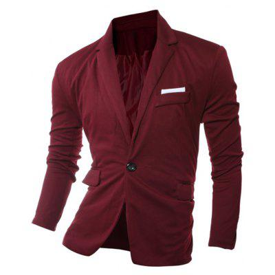 Lapel Edging One Button Long Sleeve Blazer
