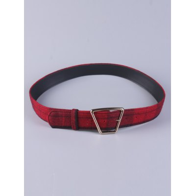 Plaid Print Trapezoid Buckle Wide Belt