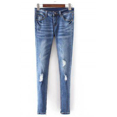 Frayed Bleach Wash Denim Jeans