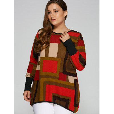 Geometric Loose Long KnitwearPlus Size Outerwear<br>Geometric Loose Long Knitwear<br><br>Collar: Round Neck<br>Material: Cotton<br>Package Contents: 1 x Knitwear<br>Pattern Type: Geometric<br>Season: Fall<br>Sleeve Length: Full<br>Style: Fashion<br>Type: Pullovers<br>Weight: 0.371kg