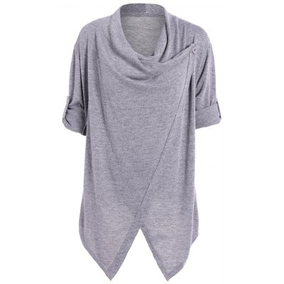 Slit Knitted Cowl Neck Asymmetric Tops