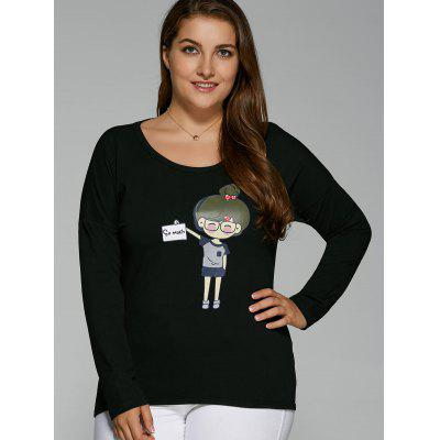 Plus Size Drop Shoulder Cartoon Print T-ShirtPlus Size Tops<br>Plus Size Drop Shoulder Cartoon Print T-Shirt<br><br>Collar: Scoop Neck<br>Material: Cotton Blends, Spandex<br>Package Contents: 1 x T-Shirt<br>Pattern Type: Character<br>Season: Fall, Spring<br>Shirt Length: Regular<br>Sleeve Length: Full<br>Style: Casual<br>Weight: 0.283kg
