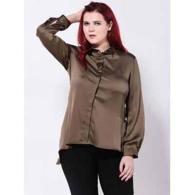 Satin Asymmetric Furcal Shirt