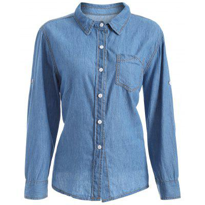 Buy DENIM BLUE Plus Size Chambray Shirt with Pocket for $8.73 in GearBest store
