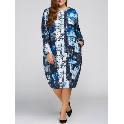 Fall Gebatikte Print Plus Size Cocoon-Kleid