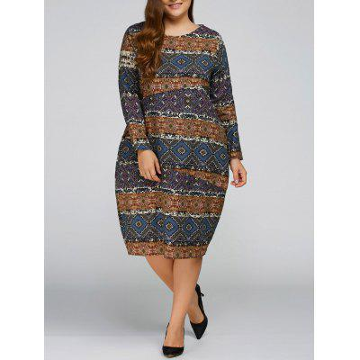 Fall Aztec Print Plus Size Cocoon-Kleid