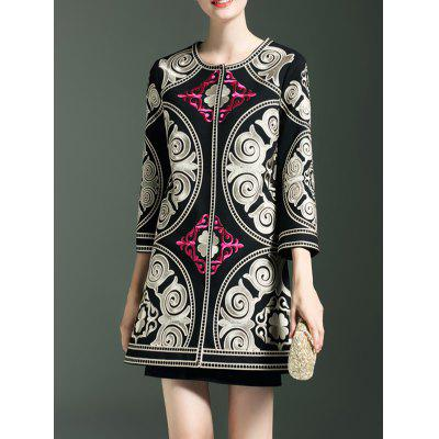 Embroidery Ethnic Style Trench Coat