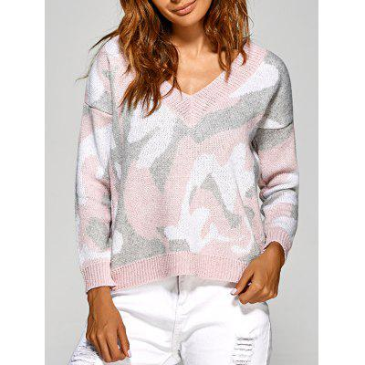Active V Neck Camouflage Sweater