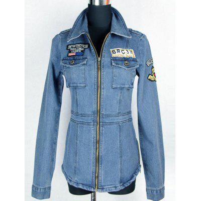 Applique Patched Pockets  Fit Denim Jacket