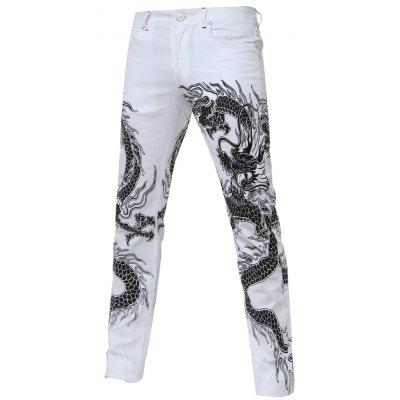 Totem Print Zipper Fly Straight Leg White Jeans