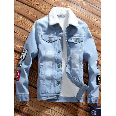 Fleece Lining Turn-Down Collar Denim Jacket