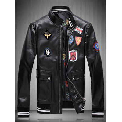 Stand Collar Applique Embellished Faux Leather Jacket