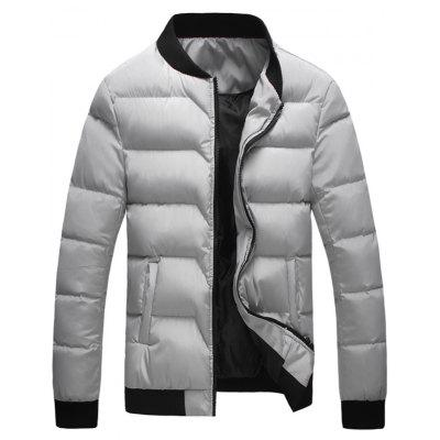 Rib Insert Zip Up Padded Jacket