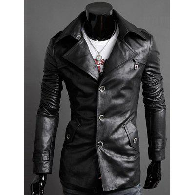 Slim-Fit Notched Collar Epaulet Design PU Jacket