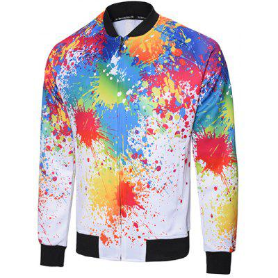 Rib Trim Paint Splatter Jacket