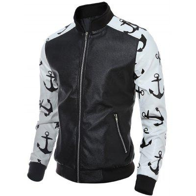 Stand Collar Zip-Up Printed Spliced PU JacketMens Jackets &amp; Coats<br>Stand Collar Zip-Up Printed Spliced PU Jacket<br><br>Clothes Type: Leather &amp; Suede<br>Clothing Length: Regular<br>Collar: Stand Collar<br>Material: Polyester, Faux Leather<br>Package Contents: 1 x Jacket<br>Season: Fall, Spring, Winter<br>Sleeve Length: Long Sleeves<br>Style: Fashion<br>Weight: 0.670kg