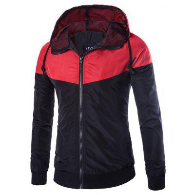 Contrast Color Zip Up Hooded Windbreaker Jacket