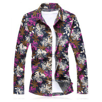 Flower Printed Plus Size Long Sleeve Shirt