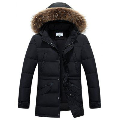 Furry Hood Selvedge Embellished Zip-Up Padded Coat
