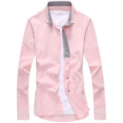 Buy PINK Striped Lined Snap Button Up Plain Shirt for $20.27 in GearBest store