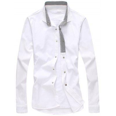 Buy WHITE Striped Lined Snap Button Up Plain Shirt for $20.27 in GearBest store
