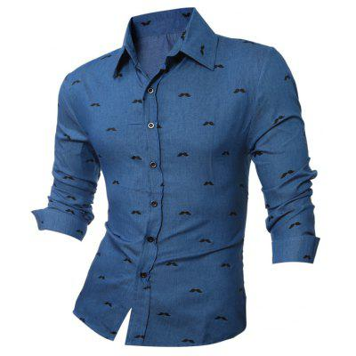 Beard Printed Long Sleeve Chambray Shirt