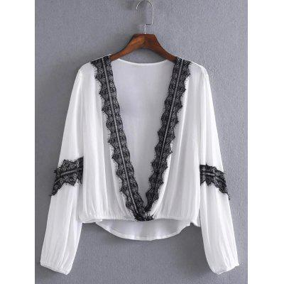 Chiffon Lace Patchwork Asymmetric Blouse