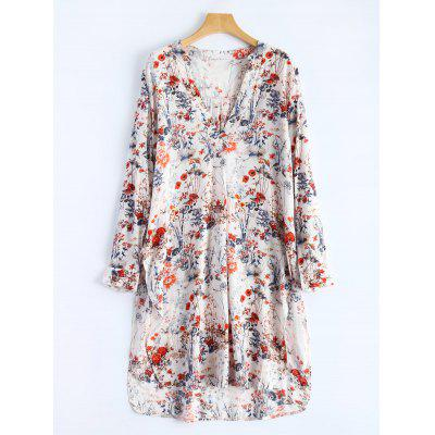 V Neck High Slit Floral Shirt