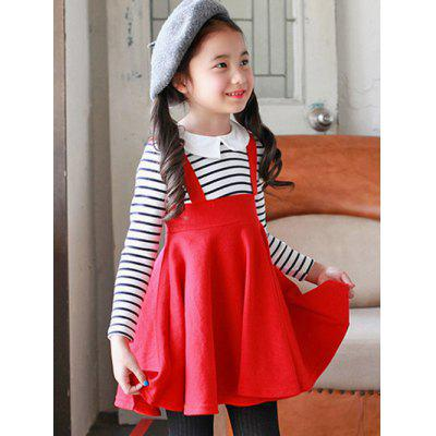 Preppy Style Striped Pleated Dress