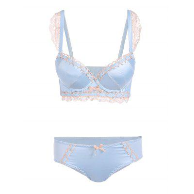 Padded Lace Embroidered Push Up Bra Set