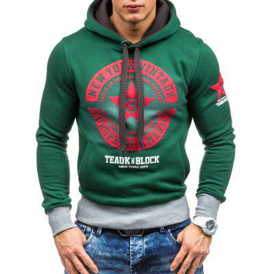 Star Printed Color Block Pullover Green Hoodie